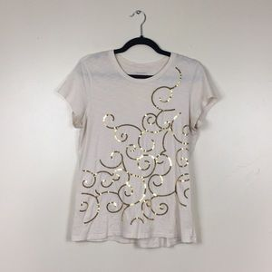 Banana Republic Off-White Tee Gold Sequin Details
